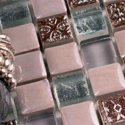 Мозаика стеклянная с камнем