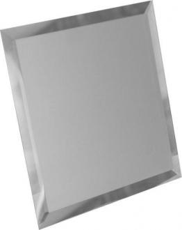 Квадратная зеркальная серебряная плитка с фацетом 10 мм КЗС1-02