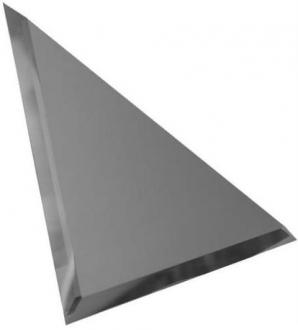 Треугольная зеркальная графитовая матовая плитка с фацетом 10 мм ТЗГм1-02