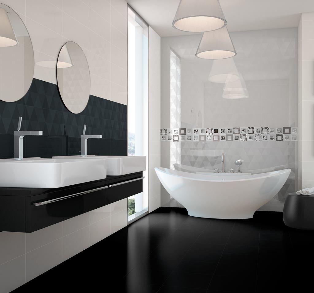 Контрастный декор черно белой ванны - 101 фото пример